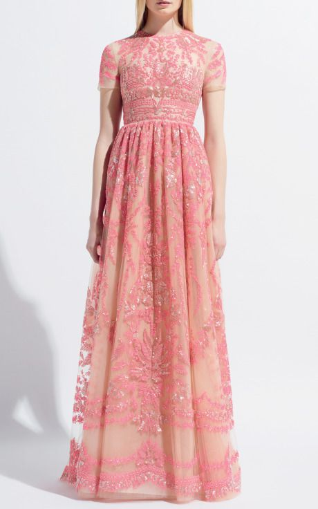 Pink! Gown by Valentino Resort, 2014. I love this dress for all of the same reasons I loved the Valentino Point de Flandres pink short sleeved dress!
