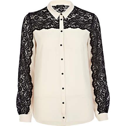 beige contrast lace shirt - shirts - blouses / shirts - women - River Island