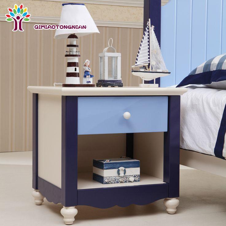 Синяя прикроватная детская тумба в морском стиле с голубым ящиком купить в онлайн-магазине мебели https://lafred.ru/catalog/catalog/detail/520103588139/