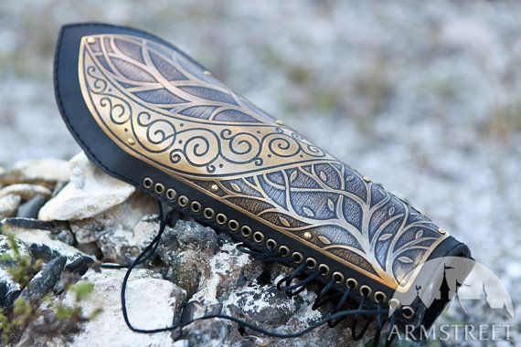 Armstreet; Medieval Elven Archery Bracer Arm Guard etched lightweight armor leather and metal