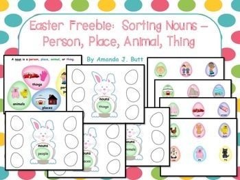FREEBIE!  Get this Activity Free - Easter Themed NOUNS!  Sort categories of nouns person, place, thing, animal; Teachers Pay Teachers; Autism; Special Education; Kindergarten; First; Second; Homeschool; Centers;