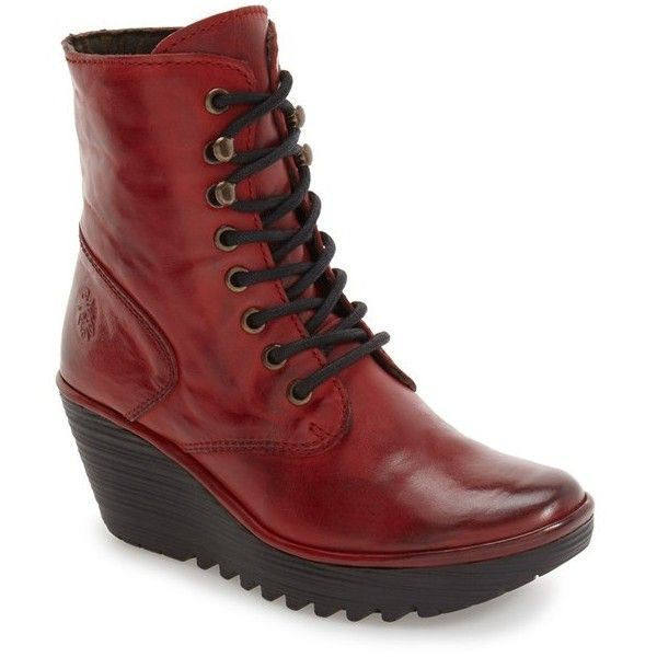 Women's Fly London 'Ygot' Platform Wedge Boot (£175) ❤ liked on Polyvore featuring shoes, boots, ankle booties, red nevada leather, red ankle booties, lace up platform wedge booties, lace up booties, red creeper and creeper boots