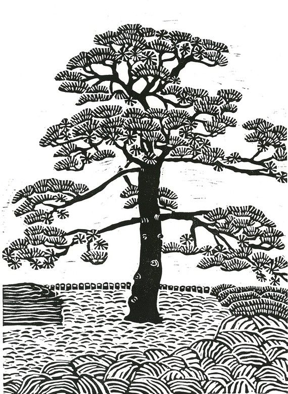 Linocut Print by Margaret Rankin #tree #art