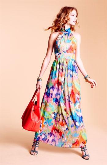 Eliza J Halter Print Chiffon Maxi Dress | Nordstrom