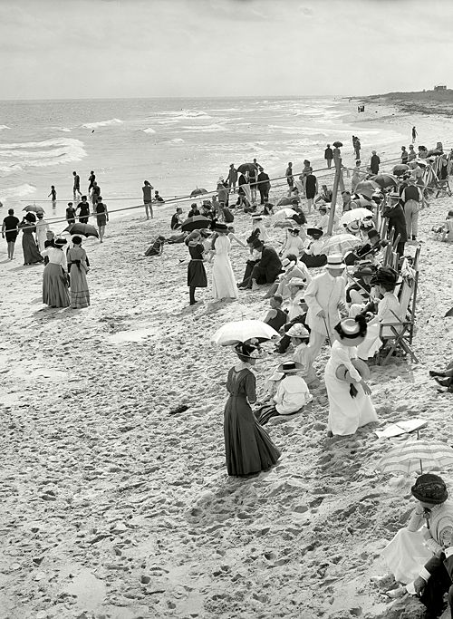 Circa 1910. Bathing at West Palm Beach, Florida - what a difference 100 years makes.....