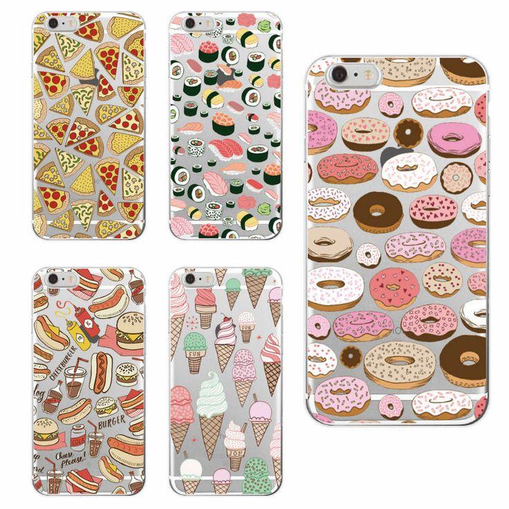 Pizza Donuts Sushi Hot-Dog Crème Glacée bouledogue Français Téléphone Case Couverture fundas pour iphone 7 Plus 7 6 6 S 6 Plus 5 5S 5C SE 4 samsung