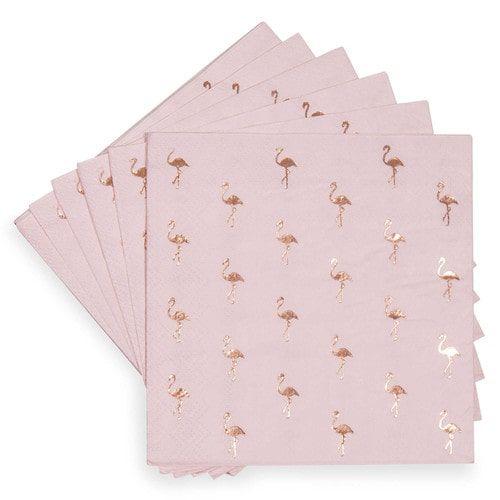 Confezione da 20 tovaglioli di carta motivo fenicotteri rosa 25 x 25 cm COCKTAIL