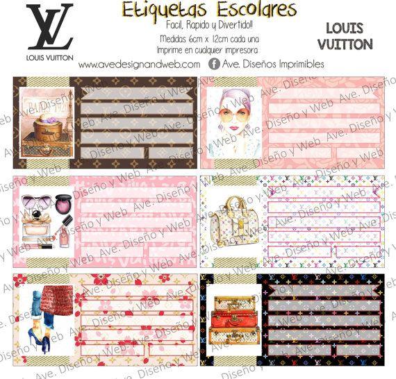 Louis Vuitton Etiquetas para Cuadernos por AVeDisenoImprimible