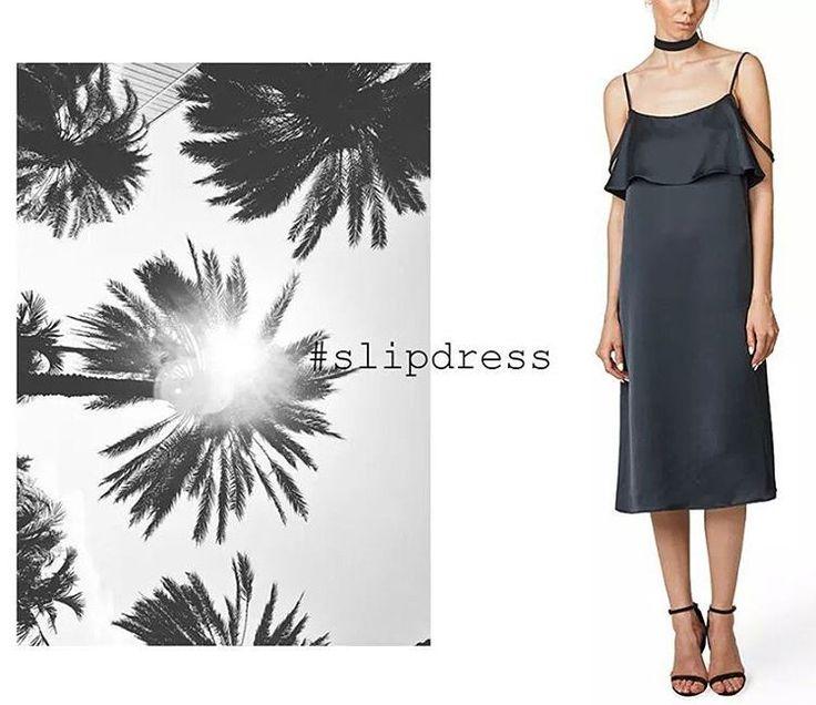 #SLIPDRESS 🌴 Throw on & go ▶ A full dose of effortless dressing in one versatile piece.  #maisonraquette #slipdress #camidress #littleblackdress #lbd #ootd #choker #allblack #maisonraquette #moleculef