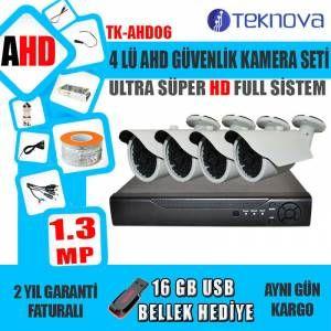 ÖZELLİKLER - 4 Kameralı Ahd Güvenlik Kamera Sistemi - HD iDVR ikisi bir arada: DVR / NVR / - Sabit IP Gerektirmez. Tak ve Çalıştır - Tam Kanal AHD (960P / 720P) Kayıt ve Oynatma - Dijital Kanal desteği ONVIF 2.3 Protokol - Hareket Algılama ile E-Posta Uyarısı - Uzaktan İzleme ve Kontrol - Andriod Mobile, Tablet, iPhone, iPad destekler - Gece görüşlü - Su geçirmez (Dış etkilere Dayanıklı) - İnternet üzerinden cep telefonu tablet veya bilgisayardan canlı izleme  #türkiye @gittigidiyor…