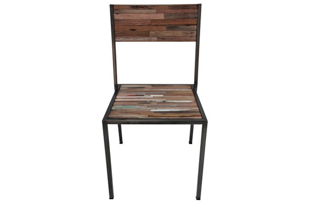 Treasured Interiors - Dining Chair - Industrial style with distressed wash finish. $269