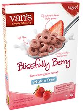 Van's Natural Foods - Gluten Free Cereals Blissfully Berry™ - New to the cereal aisle, our gluten free Blissfully Berry™ cereal delivers 17g of nutrient-dense whole grains along with 5g of fiber per serving. So go ahead and add a splash of strawberry to your morning routine.