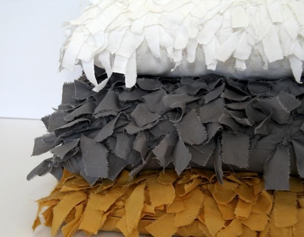 Handmade 'Tumbleweed cushions' close-up