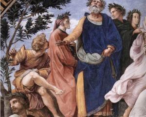 El Párnaso, detalle de Homero, Dante y Virgilio. Rafael. 1510-1511. Fresco (anch. 670 cm). Palacio Apostólico, Vaticano.
