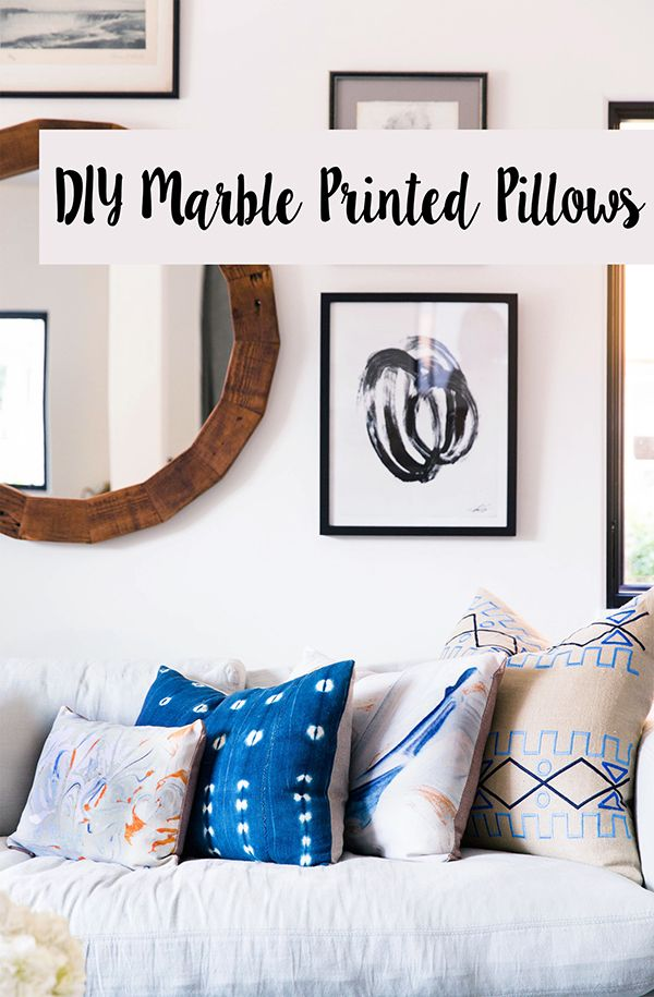 How to print your own pillows using an easy shaving cream + food coloring marbling technique!