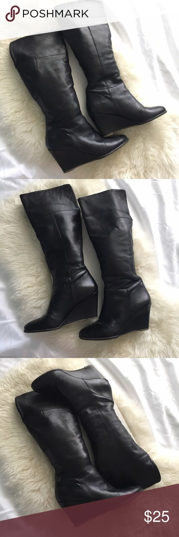 Knee Length Black Boots Steven By Steve Madden Black knee length boots. Actual brand is Steven By Steve Madden. Super comfortable! Worn and in good condition! Heel height is approx 3 inches. From the top of the heel to the top of the boot, the length is approx 13 inches (as marked with blue in pic #8). The width of the boot as measured where the seam is at (marked with red in pic #8) is approx 6 inches. Left boot is picture #7. Right boot is picture #8. Steve Madden Shoes Heeled Boots