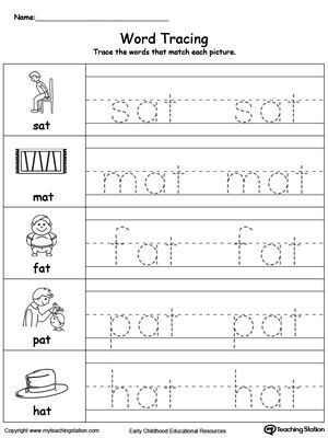 word tracing at words word families tracing worksheets writing worksheets kindergarten. Black Bedroom Furniture Sets. Home Design Ideas