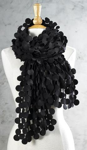 Black Disc Cut-out Scarf: Cut Out Scarf, Circle Scarf, Elegant Scarfs, Disc Scarf, Black Scarf, Felt Disc, Cut Outs, Disc Cut Out