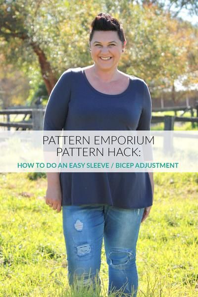 How to do an easy sleeve bicep adjustment on stretch fabrics by Pattern Emporium.
