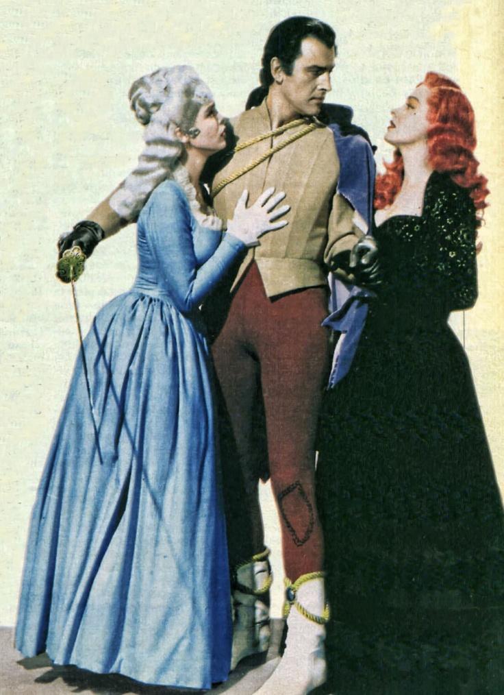 "Janet Leigh, Stewart Granger y Eleanor Parker en ""Scaramouche"", 1952"