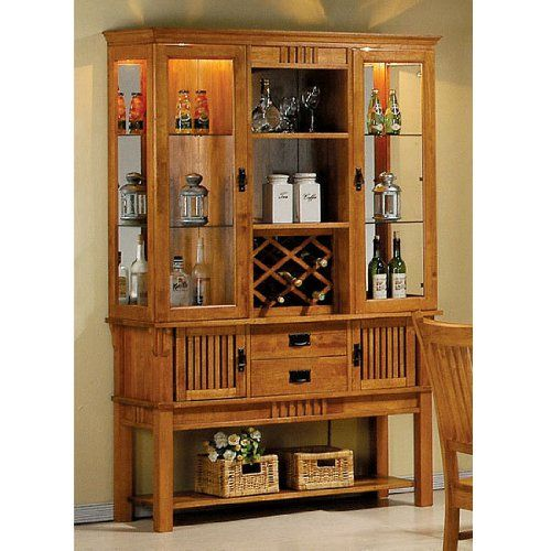 Coaster Meadowbrook Buffet And Hutch China Cabinet In Warm Medium Brown 86205 Dining Room