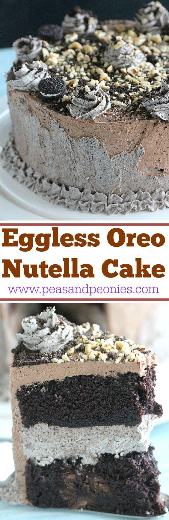 Oreo Nutella Cake - Eggless Chocolate Cake - Peas and Peonies