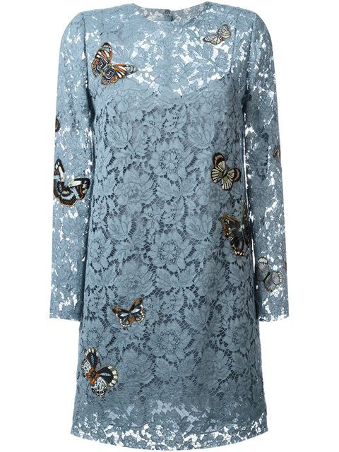 Shop Valentino 'Japanese Butterfly' embroidered heavy lace dress.