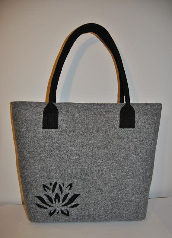 Felt Tote with cut out flower pattern Shoulder Bag by kmBaggies, $40.00