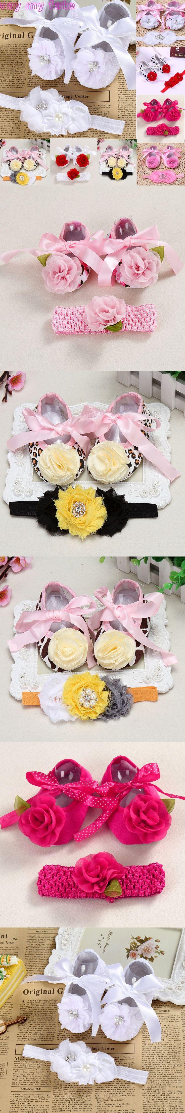 Christening baptism newborn baby girl shoes headband set,toddler infant fabric baby booties for newborn girl