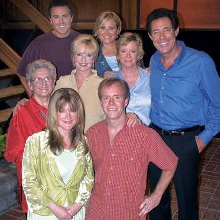 The Brady Bunch - The original cast in approximately 2005 (give or take a year).  All are here except of course Robert Reed who passed away in 1992.  L to R starting at botton corner:  Cindy (Susan Olsen); Bobby (Mike Lookinland); Alice (Ann B. Davis); Carol (Florence Henderson);  Jan (Eve Plumb); Greg (Barry Williams), Peter (Christopher Knight);  and Marcia (Maureen McCormick)