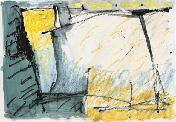 """""""12/22-01"""" by sanae  h20.9cm w 29.7 cm Gouache and Water-soluble on Paper 2003"""