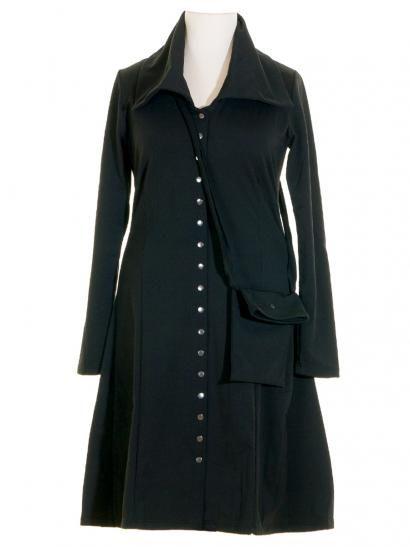Damen Mantelkleid mit Tasche, schwarz