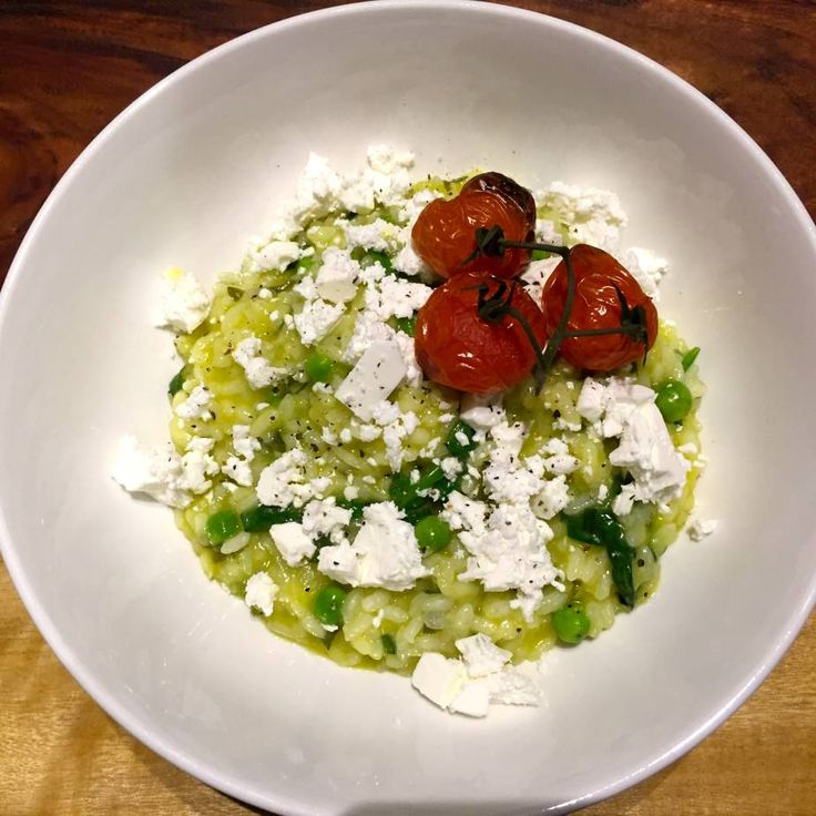 Spinach, Pea and Mint Risotto with Feta and Roasted Tomatoes