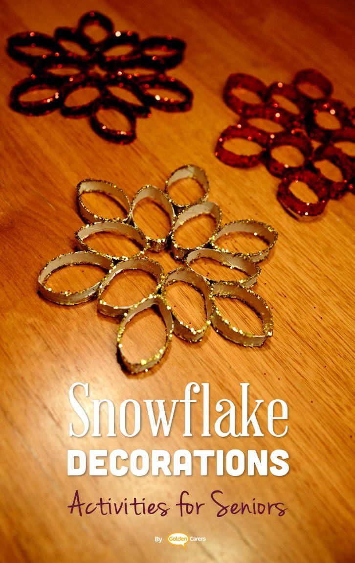 Gorgeous glitter snowflakes for Christmas! A lovely activity and decoration for nursing homes.