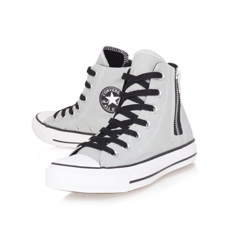 Converse Grey Chuck Taylor Side Zip Hi Top Trainers