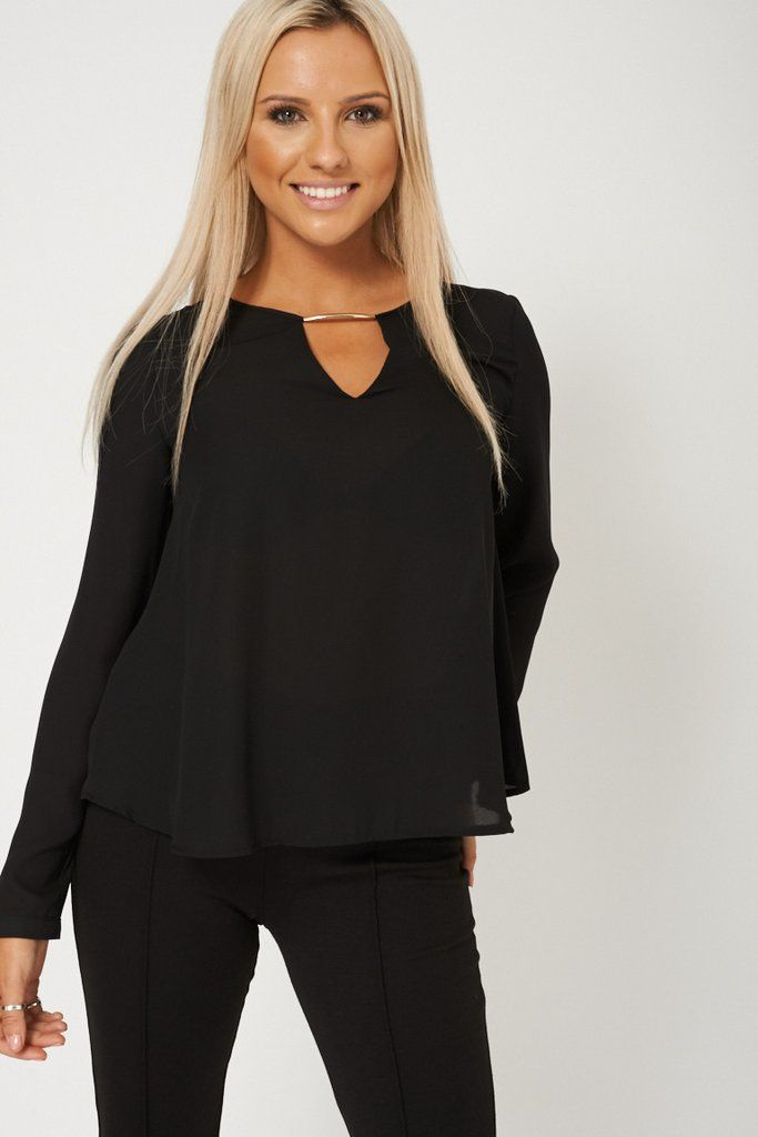 Black Blouse With V front