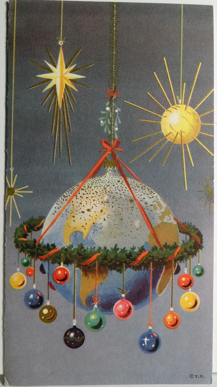 Sputnik christmas ornaments - 50s Mid Century Modern Sputnik Earth Tree Ornaments