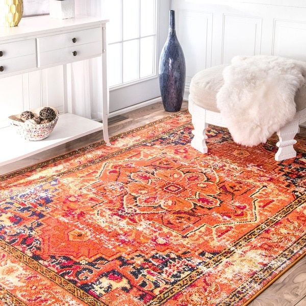nuLOOM Traditional Flower Medallion Orange Rug (5'3 x 7'7)