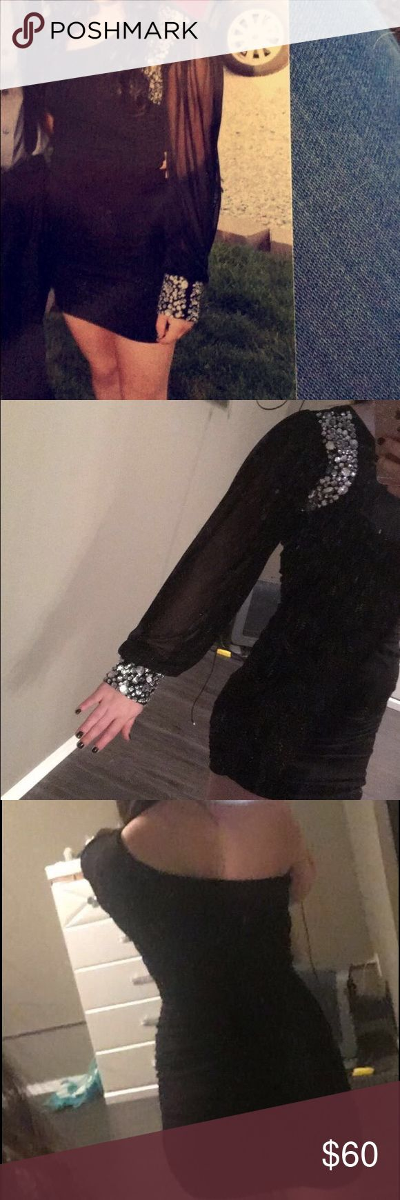 Homecoming Dress/ Party Dress Black skin tight dress , see through sleeve w/ gems , size 2, worn once, like brand new Dresses Mini