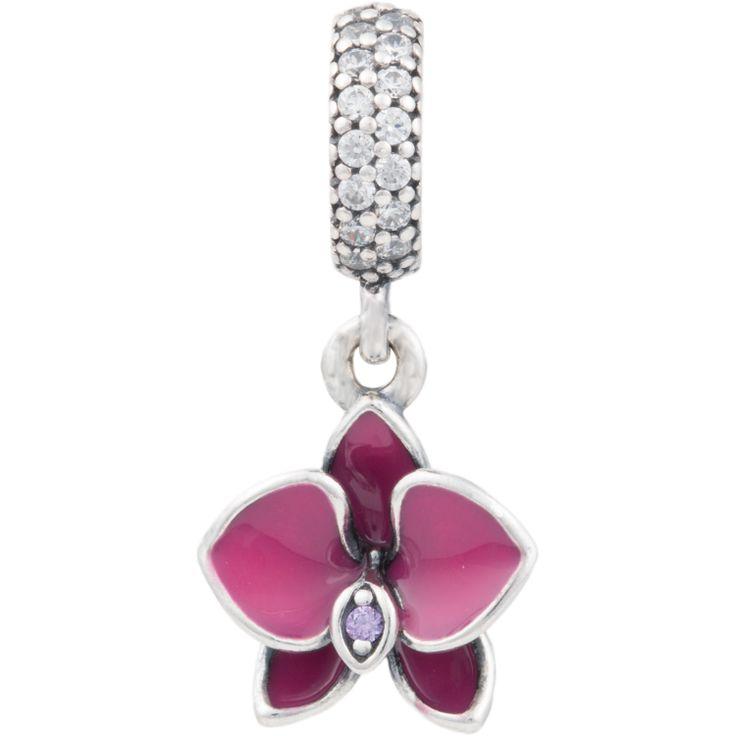 Orchid Charm, PANDORA charm, pendant, 791554EN69 | PANDORA® MOA