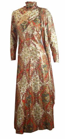 Elegant Exotic Metallic Evening Dress w/ Scarf circa 1970s - Dorothea's Closet Vintage