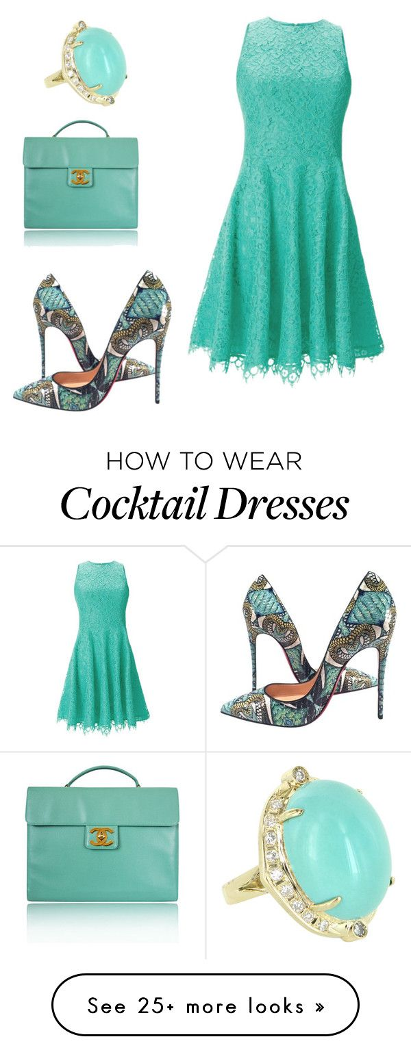 """Untitled #684"" by habibati on Polyvore featuring Vintage, Shoshanna, Christian Louboutin and Chanel"