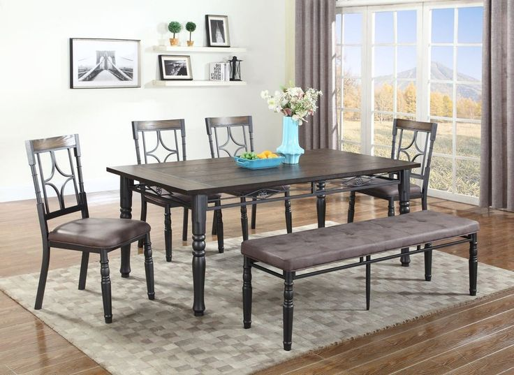 Lifestyle Dark Walnut Wood & Metal Bench Dining Set – My Furniture Place