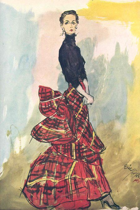 Tartan dress, Paris, 1948 by Schiaparelli. Illustration by Eric.