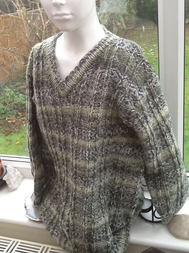 Green Marble Super Chunky Knitted Long length Jumper for Ages 8 to 10 years. £16.00