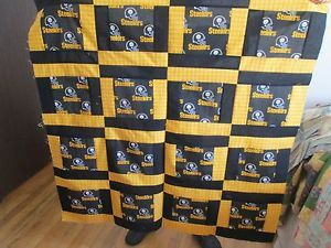 "Pittsburgh Steelers Quilt Top 100 Cotton 40 "" Square Baby Throw 