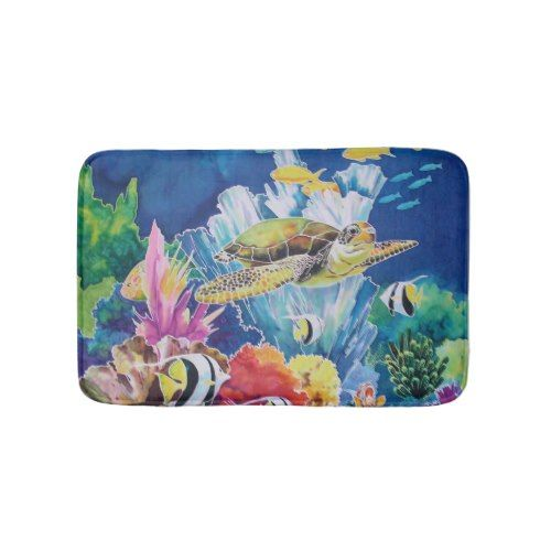 Turtle Underwater Scene Fish Tropical Bath Mat