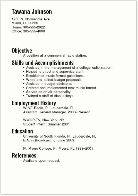 Sample Resumes For College Student And Graduate - Sample Resumes For ...