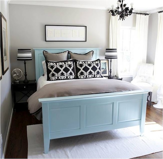 love the black, grey & white... with the bed frame being the pop of color this room needs.
