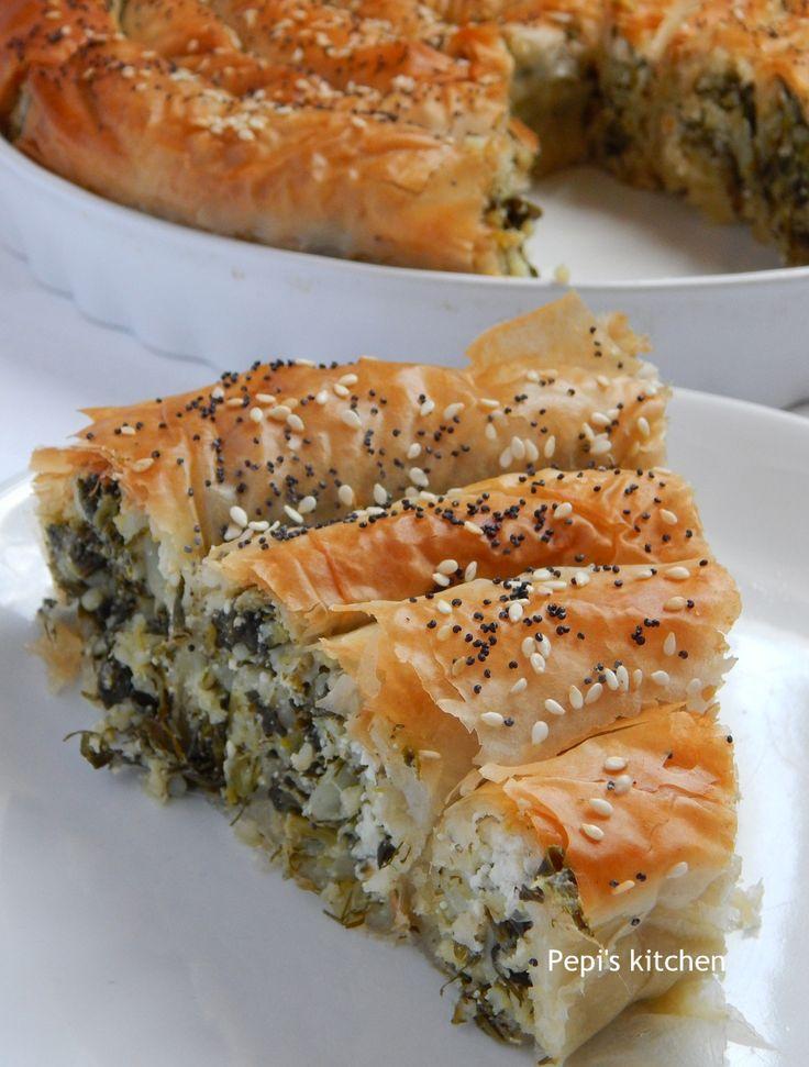 Spiral Spinach Pie with Skotyri Iou http://pepiskitcheninenglish.blogspot.gr/2015/03/spiral-spinach-pie-with-skotyri-iou-greek-recipe.html